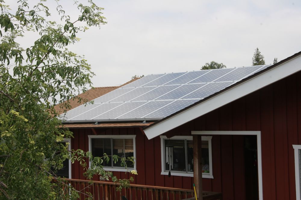 solar array on the home barn